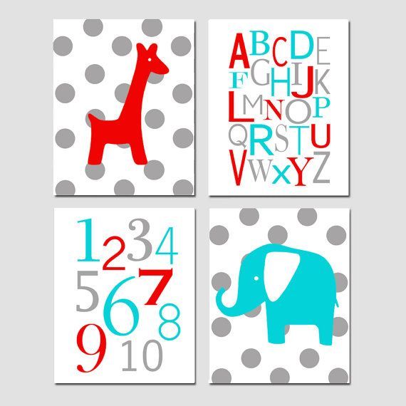 Nursery Art Quad  Polka Dot or Stripe Giraffe Alphabet by Tessyla, $65.00