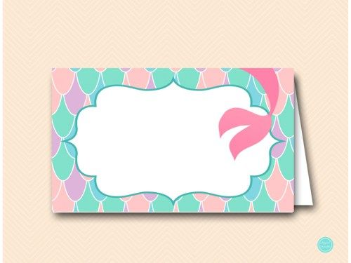 SN531 Labels-Mermaid-pink-purple-aqua-mermaid-baby-shower-food-labels