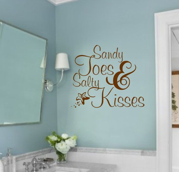 Vinyl Wall Decal- Sandy Toes & Salty Kisses-Vinyl Wall Decal Beach Lettering Sticker