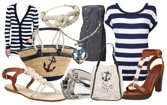 Платье в морском стиле с якорем