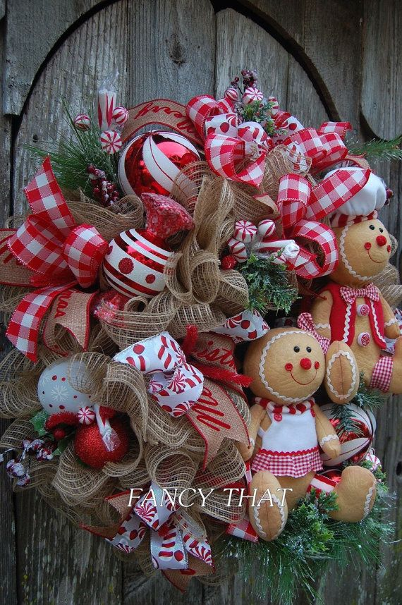 Peppermint Gingerbread Theme Wreath christmas by FancyThatDecor
