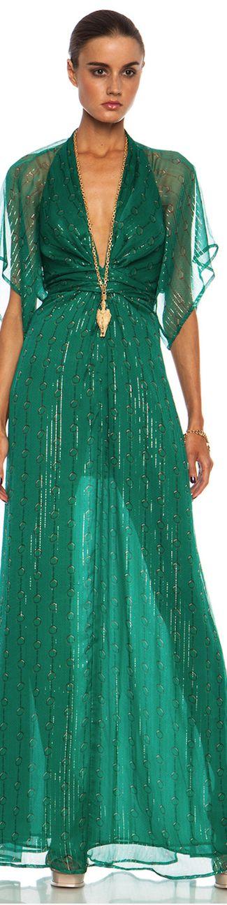 ISSA Pollyanna Maxi Silk-Blend Gown in Jade from Forward by Elyse Walker
