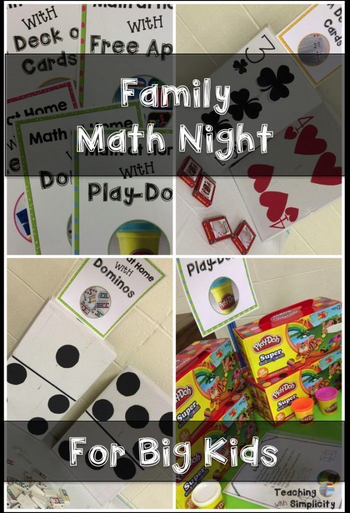 A collection of hands-on activities for hosting a Family Math Night For Big Kids!  Free  handouts!