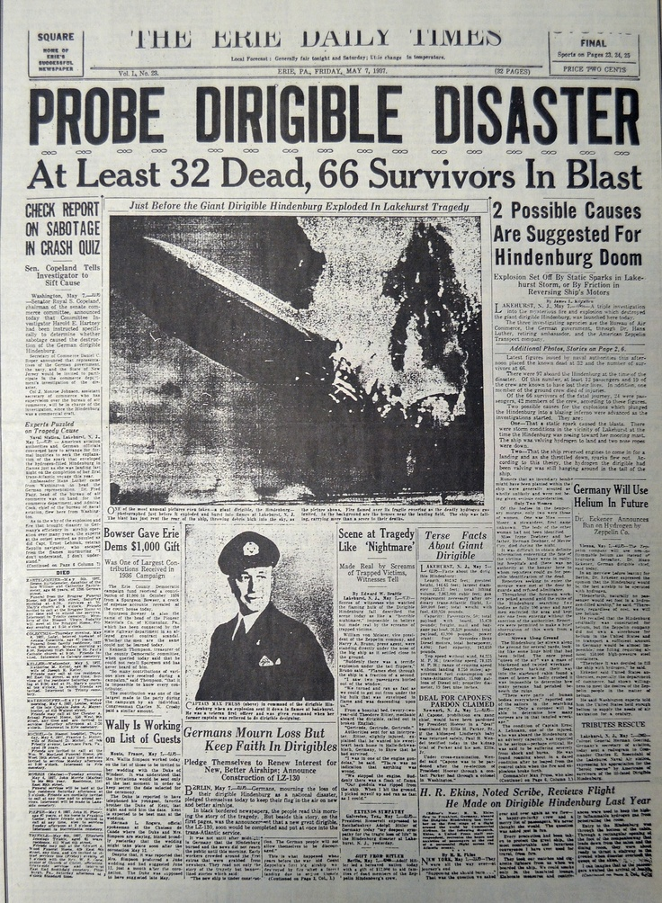 The Erie Daily Times coverage of the Hindenburg disaster on May
