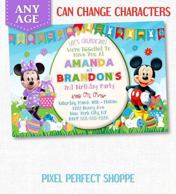 Easter Invitation, Mickey and Minnie Mouse Easter Invitation, Mickey Minnie Birthday Invitation, Kids Easter Invitation, Choose Character