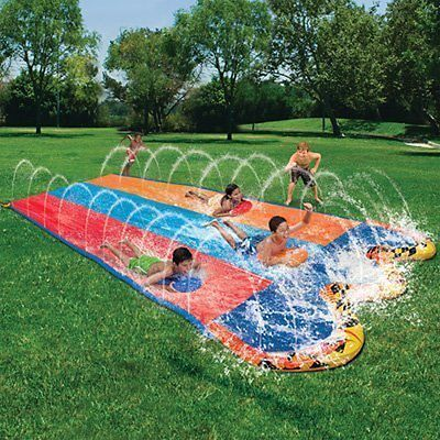 Banzai Slip N and Slide Triple Water with Splash Bumpers NEW #contest