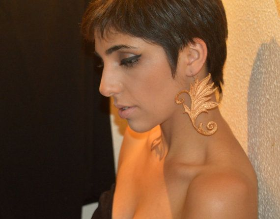 golden swan earings by KirkisCharms on Etsy