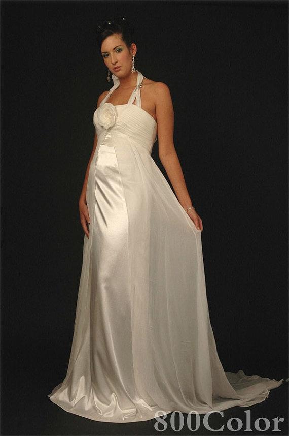 Maternity hater neckline empire waist chiffon and satin wedding dress different sizes. $195.00, via Etsy.
