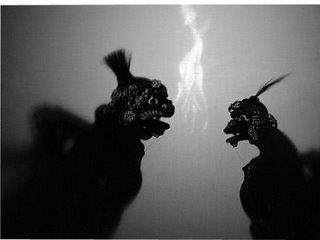 Punakawan Wayang. These are wayang Bali and the characters are Delem (left) and Sangut #wayang #shadowpuppets #puppets #Bali #Indonesia