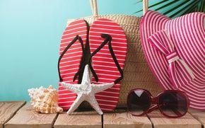 Обои шляпа, очки, аксессуары, отпуск, пребывание, солнце, пляж, пляж, песок, отпуск, лето, морские звезды, лето, сланцы