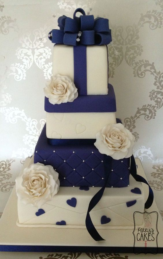 Navy Blue and White wedding cake from Cake Central.  www.cakecentral.com Account.  Keywords:  #weddingcakes #navybluethemedweddingcake #jevelweddingplanning Follow Us: www.jevelweddingplanning.com  www.facebook.com/jevelweddingplanning/