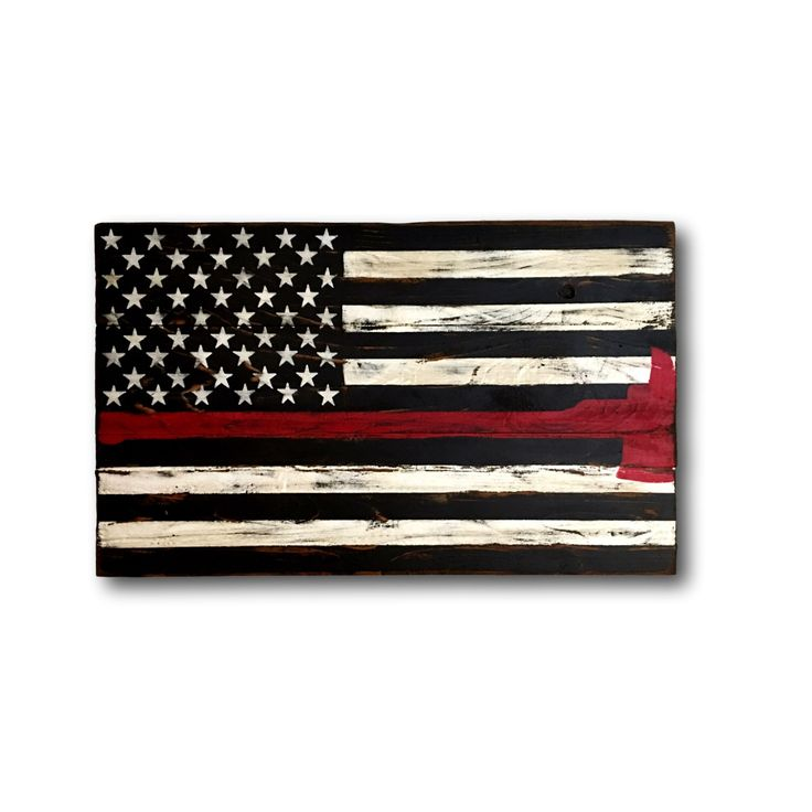 Thin Red Line Flag/ Firefighter Axe Sign/ Firefighter Gift/ Wood Flag by PalletsandPaint on Etsy https://www.etsy.com/listing/294104595/thin-red-line-flag-firefighter-axe-sign