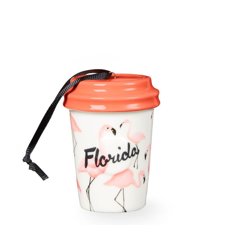 A ceramic cup ornament with a design inspired by Florida's laid-back, tropical state of mind, part of Starbucks the Dot Local Collection.