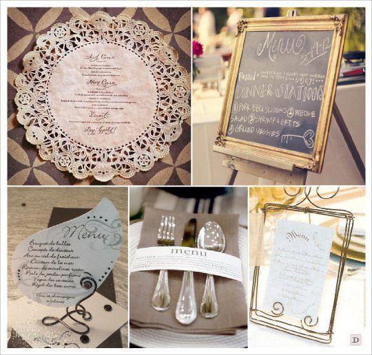 menu mariage baroque napperon dentelle papier cadre ardoise fil metallique rond serviette