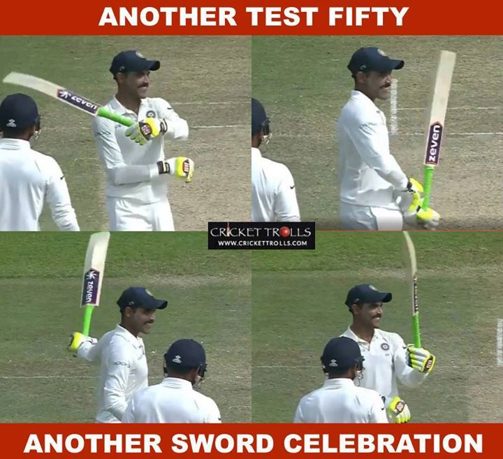 Ravindra Jadeja celebrated his fifty in trademark style #SLvIND #2ndTest For more cricket fun and updates click http://ift.tt/2gY9BIZ - http://ift.tt/1ZZ3e4d