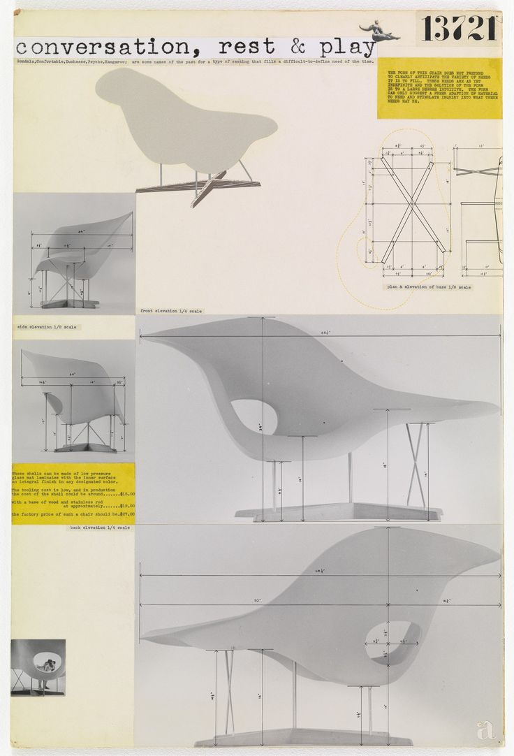 Charles Eames, Ray Eames. Entry Panel for MoMA International Competition for Low-Cost Furniture Design (La Chaise). c. 1950 @museummodernart