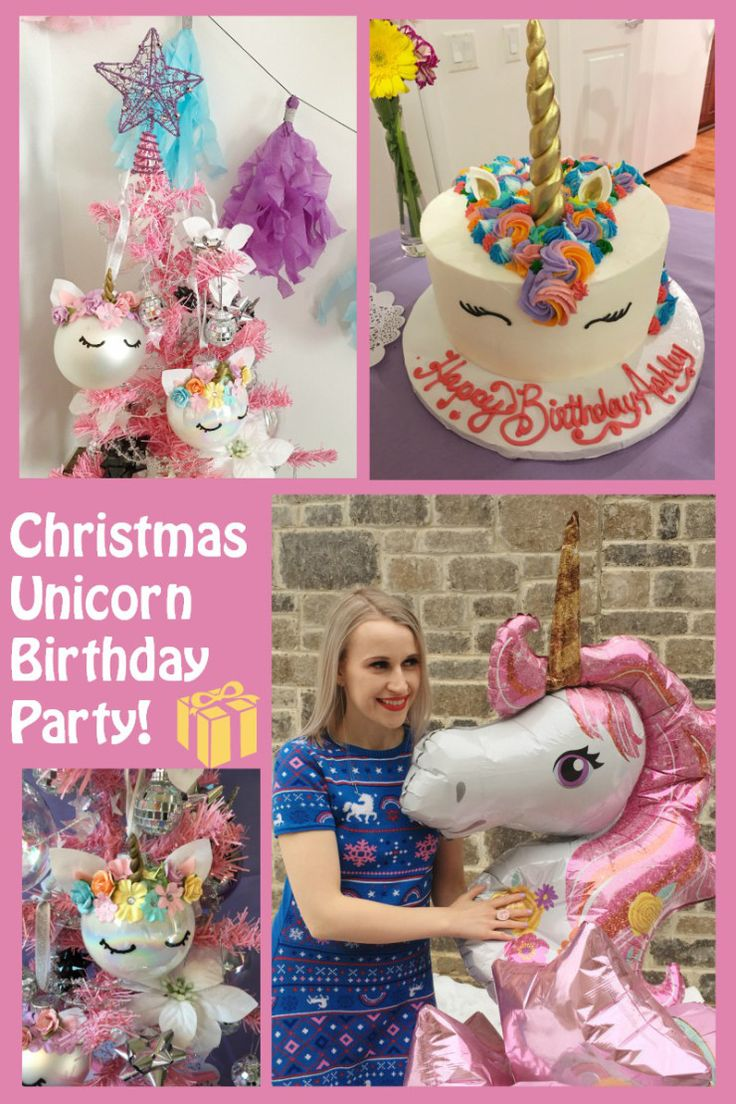 Christmas Unicorn Birthday Party! What should you do if you want a unicorn themed birthday party; but also were born around Christmastime - combine them! The pink and classy way to combine unicorns and Christmas #unicornparty #Christmas #unicornbirthdayparty