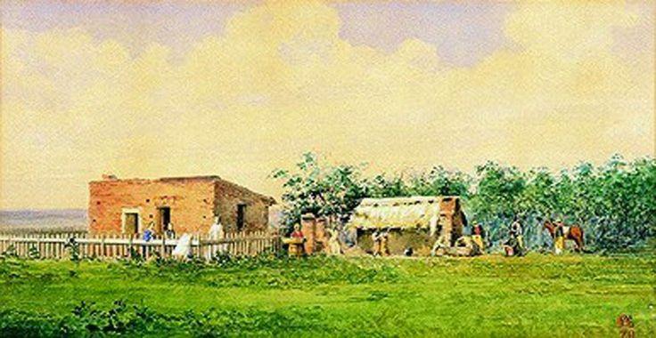 """JA - """"EL PUESTO Y RANCHO DE PEONES. ESTANCIA DE LA FAMILIA ANCHORENA EN RAMALLO"""" - 1870"""