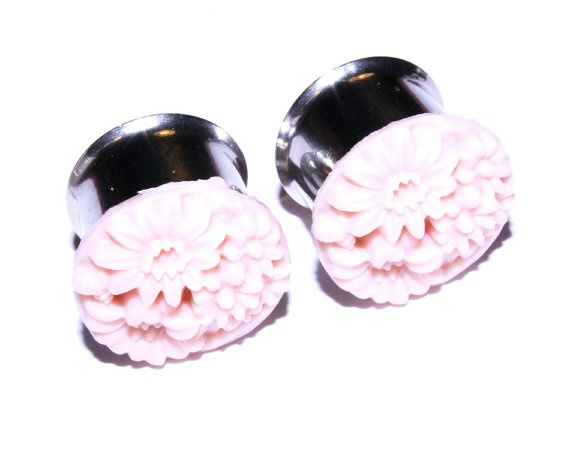 Plugs 5/8 inch 16mm Tunnels Pink Flower Pretty by PlugsforGirls, $21.99
