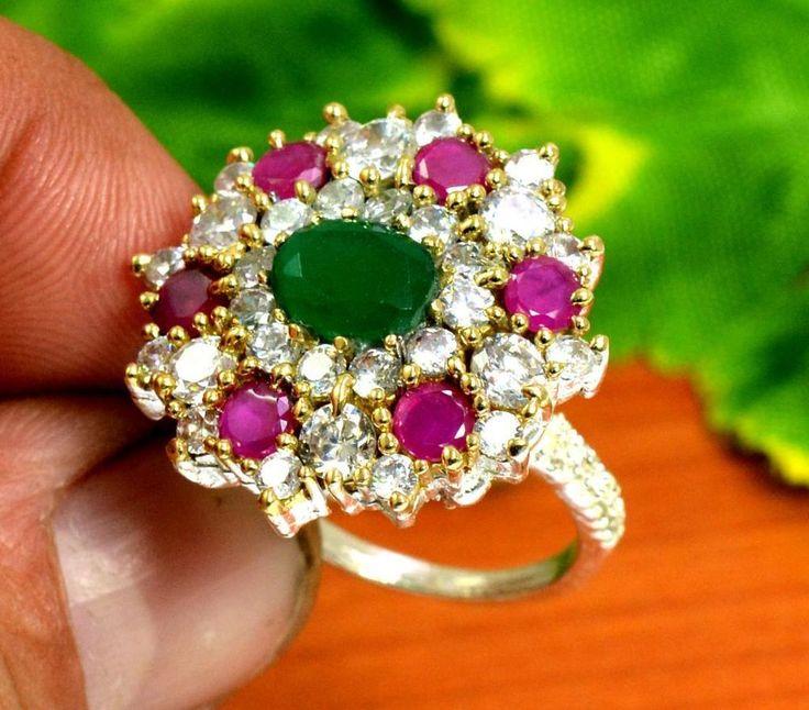 "Ruby Emerald Gemstone Turkish Victorian Silver Plated Ring Size US 6 1/2"" R253 #krishnagemsnjewels #Solitaire"