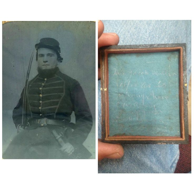 """Civil War Tintype Photo of """"Jacob Mullin"""" Handcock County, Indiana. Jacob Mullin fought in the United States Civil War for the Union Side. He was listed as being from Indiana. He was a Teamster B in the 8th Indiana Infantry. Their is an hand written inscription inside, but cannot totally make it all out. Photo size: 6th plate 2 1/2"""" x 3 1/2"""" ."""