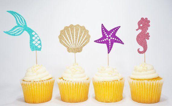 Ocean Glitter Mermaid Happy Birthday Cake Topper Under The Sea Mermaid Tail Cupc