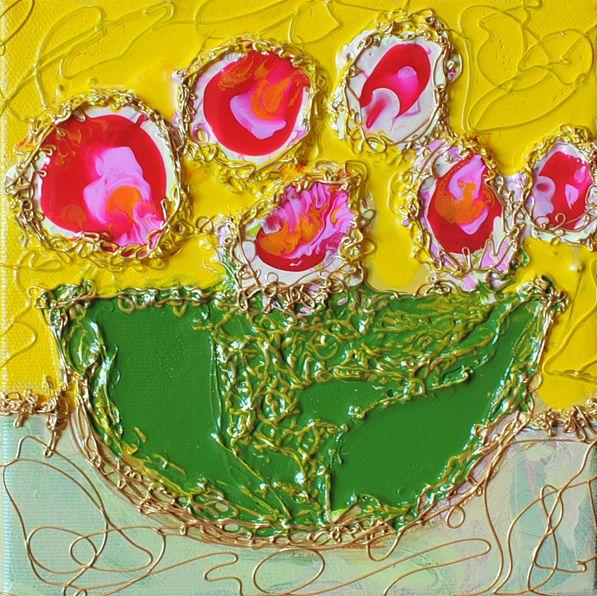 """Les Fleurs d'Isabelle, Acrylic & Mix Media, 6"""" X 6"""" www.SigneLeblanc.com http://www.chiendor.com/category/artists/artists/painters/isabelle-leblanc"""