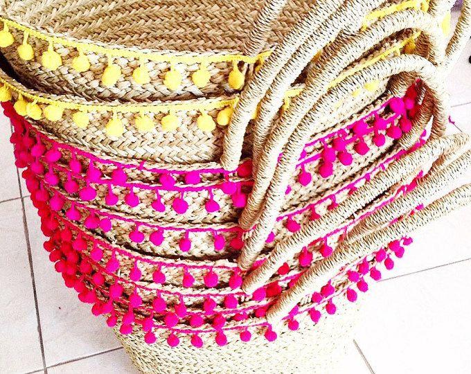 Pompón playa bolso/paja pom pom cesta/paja/cesta de la paja playa bolsa playa bolsa de Yoga bolso/el totalizador bolsas