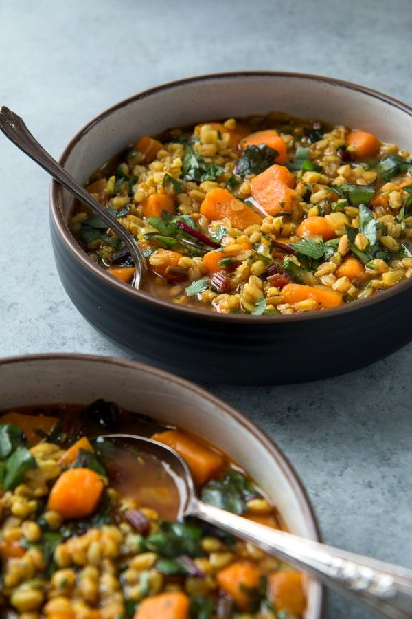 Farro is a wheat product, substitute it with sorghram, brown rice or oat groats grains. - Sweet Potato And Beet Green Soup with Farro (vegan)