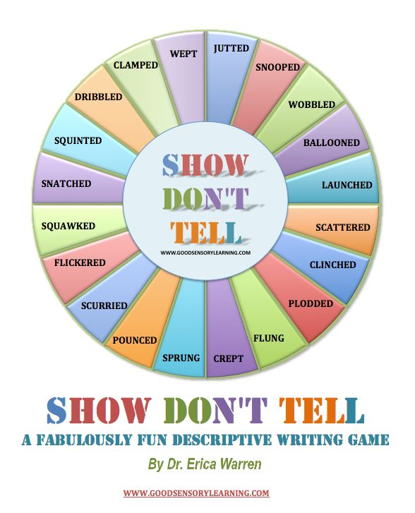 "FREE & AWESOME writing game!!! ""Show Don't Tell"" is a new writing game that will help all players learn how to become excellent, descriptive writers.  Come learn more!"