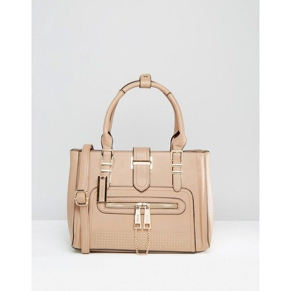 Dune Tote Bag With Gold Hardwear (£57) ❤ liked on Polyvore featuring bags, handbags, tote bags, taupe, taupe purse, dune purse, tote purses, taupe tote and handbags totes