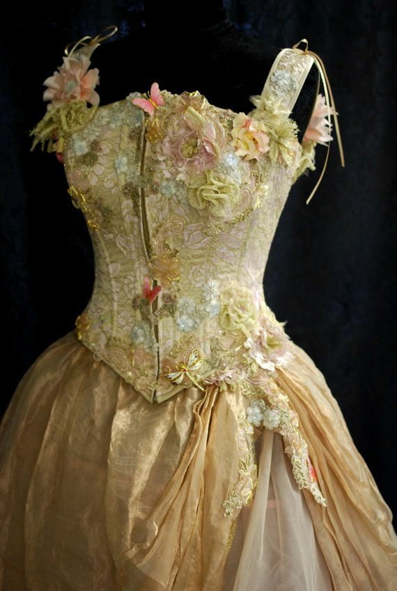 Once Upon A Time ~ Stunning Wedding Gown ~ Fantasy Dragonfly Wedding Dress Pink and Gold by BellaVittoria, $2650.00