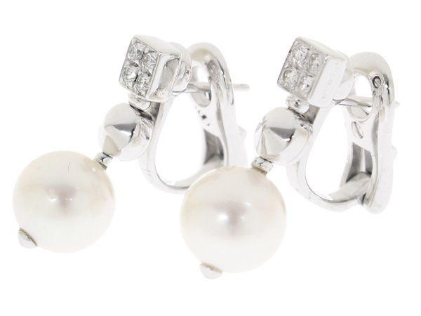 sale retailer 296ea cac13 ブルガリ ピアス ルチア ダイヤモンド×パール×K18WGホワイト ...