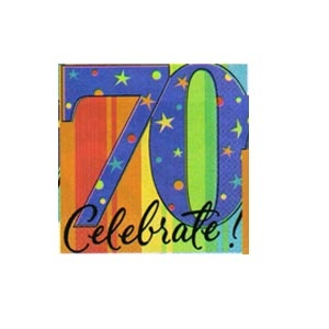 """""""70th"""" Ultra Beverage Napkins (A Year to Celebrate) 16/pkg"""