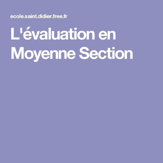 L'évaluation en Moyenne Section