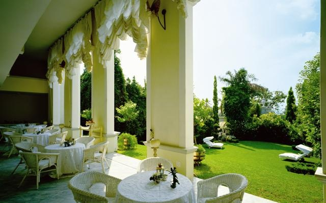 Illyria House Boutique Hotel Spa Pretoria South Africa. The Veranda where Weddings, High Teas and the House Menus are usually served.