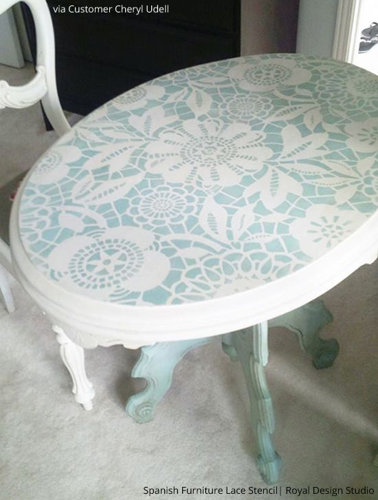 Stenciled Table Tops | Spanish Furniture Lace Stencil | Royal Design Studio