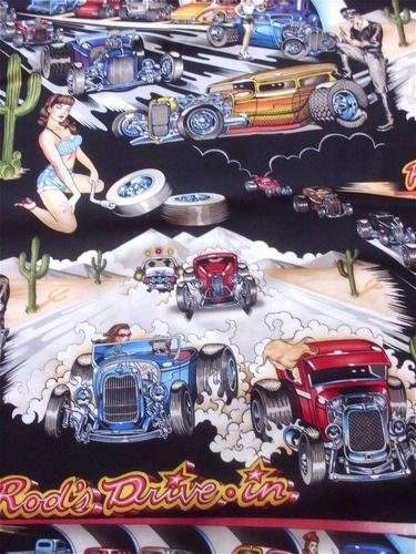 A Henry Fabric Drag Race Hot Rods Pin Up Girls Cactus On