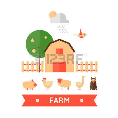Farm in village set of icons. Harvesting, agriculture. Flat design vector illustration photo