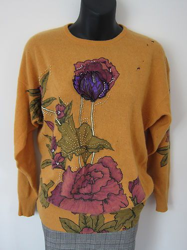 Mustard yellow gold 80's retro geek floral beaded embroidered batwing jumper | eBay