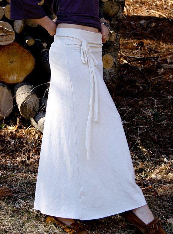 organic hemp and cotton skirt tie waist maxi by