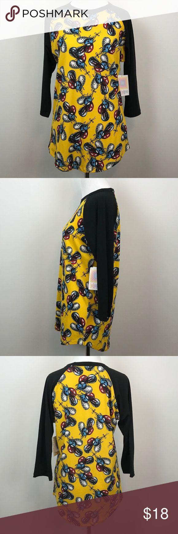 "LuLaroe Woman Size S Randy Raglan Yellow Balloon Machine washable.  3/4 Sleeve   Measures-  20"" armpit to armpit  26"" length  15"" sleeve LuLaRoe Tops Tees - Long Sleeve"