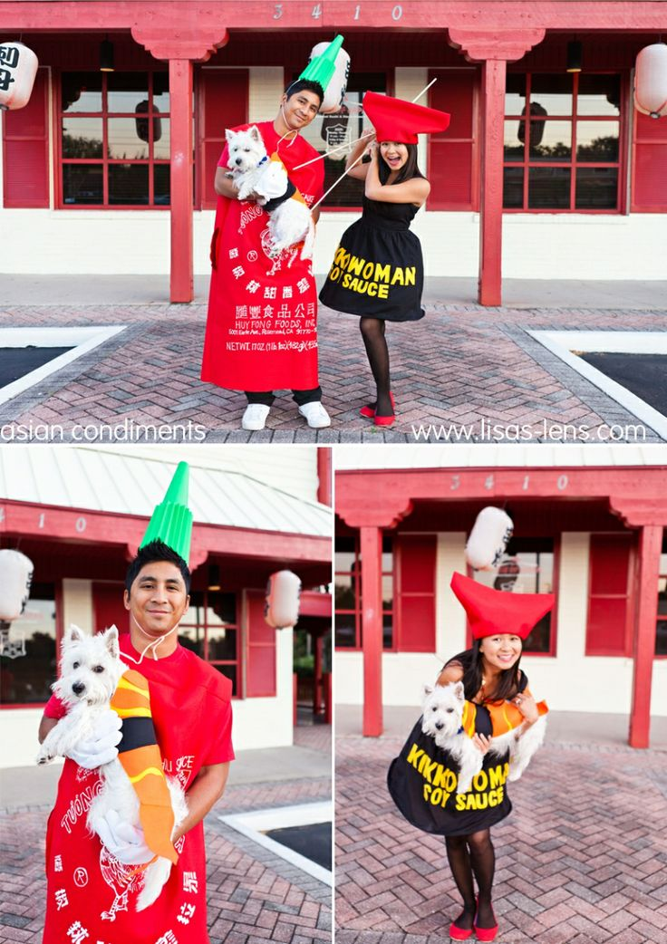 asian condiments couples halloween costume idea sriracha and soy sauce what am i - Halloween Food Costume