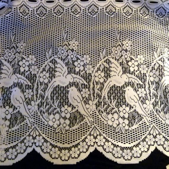 Beautiful New European Birds 24 Valance Fabric Lace Cafe Etsy In 2021 Shabby Chic Lace Curtains Lace Curtains Cafe Curtain Rods
