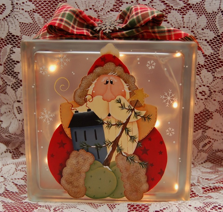 205 best images about glass blocks on pinterest jingle for Santa glasses for crafts