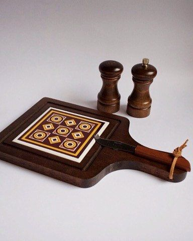 Vintage Chopping Board with Pepper Mill and by SomethingKitsch