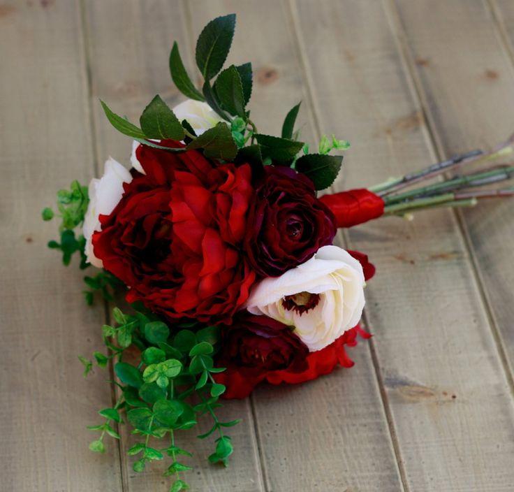 Silk Burgundy Marsala Plum Ivory With Roses Peonies and Ranunculus- Wedding Bouquet