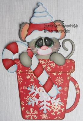 Premade Paper Pieced Christmas Mouse for Scrapbook Page by Babs