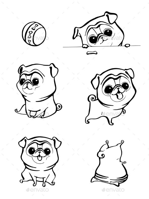 Cartoon Character Pug Dog Poses Cute Cartoon Drawings Cartoon Dog