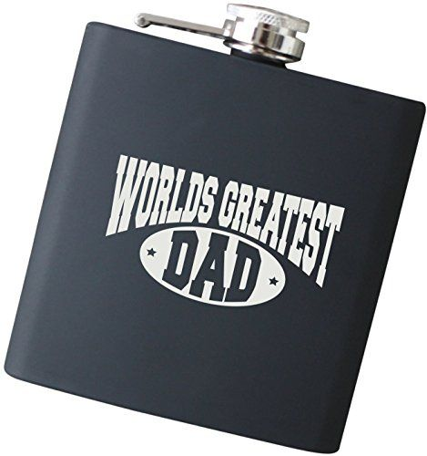 Worlds Greatest Dad Engraved Black Hip Flask  Perfect Christmas Gift for Dad Father of the Bride and Groom Fathers Day Present  F17NC ** For more information, visit image link.Note:It is affiliate link to Amazon.